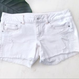 American Eagle Distressed White Cutoff Shorts